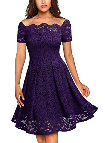MISSMAY Women's Vintage Floral Lace Short Sleeve Boat Neck Cocktail Party Swing Dress, Large, Purple