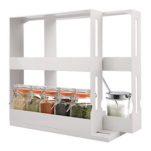 HLTER Rotating Spice Rack, Multifunctional Seasoning Organizer, 2 Tier Spice Organizer for Cabinet, Revolving Spice Rack Organizer for Spices Condiments