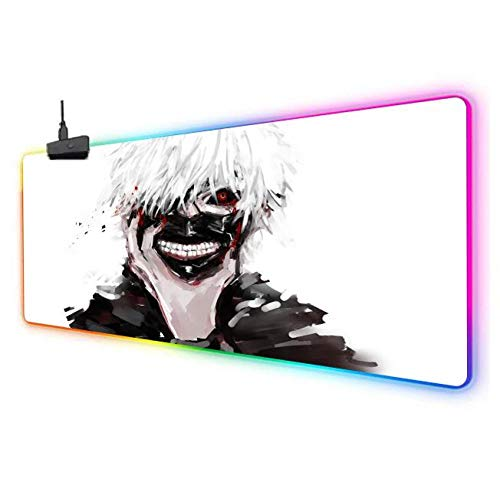 Mouse Pads Tokyo Ghoul RGB Gaming Mouse Pad Led Extended Large Mousepad Anti Slip Rubber Base Computer Keyboard Mouse Mat A 11.823.6inch