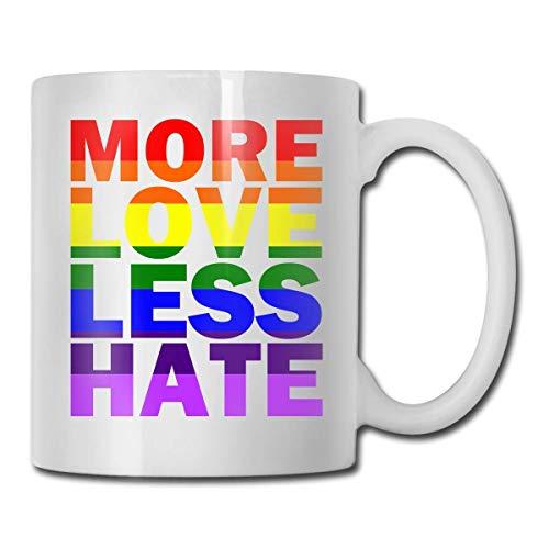 N\A Taza de Doble Cara Más Amor Menos Odio Orgullo Gay Tazas de Cacao Tazas de Cacao de Porcelana con asa en C Grande: la Mejor Taza de café para Regalo de cumpleaños y Navidad