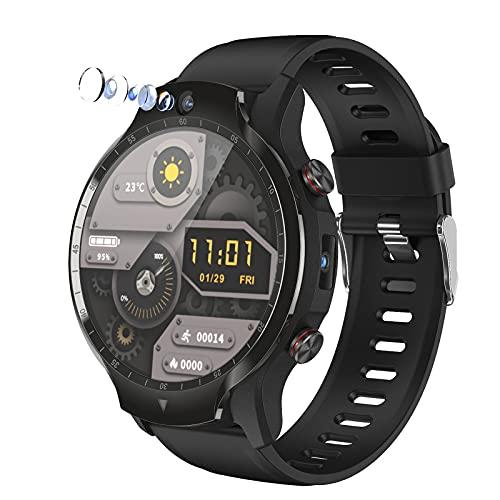 Reloj De Teléfono Inteligente Android 9.0 Con Cámara Dual 500 Píxeles 1.6' Pantalla Táctil 4G LTE FACE UNCLOK WRISTWATCH,Reloj Deportivo Impermeable IP67,Sistema Dual 4GB + Pulsera Deportiva GPS,Negro