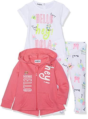 Mek MEK Baby-Mädchen Tuta 3 Pezzi : Full Zipper+t-Shirt+Pantalone Jogginganzug, Pink (Rosa Scuro 07 036), 86 (Herstellergröße: 18M) (3er Pack)