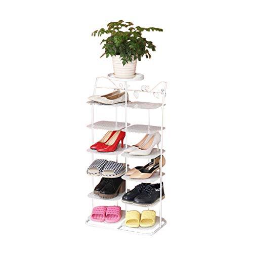 ZZYE Zapatero Rack de Zapatos 6 Niveles Blanco apilable Organizador estantes de Almacenamiento gabinete de Entrada Espacio Ahorro para 12 Pares de Zapatos Perchero Zapatero