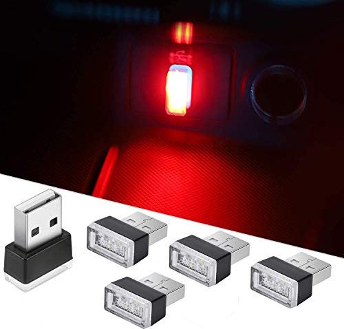 CTRICALVER Auto USB Beleuchtung, Mini USB Licht, Auto Umgebungslicht, Auto Umgebungslicht für Auto Laptop mobile Stromversorgung (5 Stück rote)