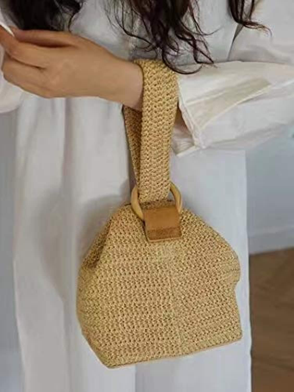 ESTHER 20179 New Hollow Round Grass Straw Woman Shoulder Handbags Beige