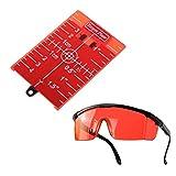 Xuebai Tarjeta de Objetivo magnético Placa de Nivel Herramienta Rotativa Línea Cruzada Gafas de protección Set Tarjeta Placa roja