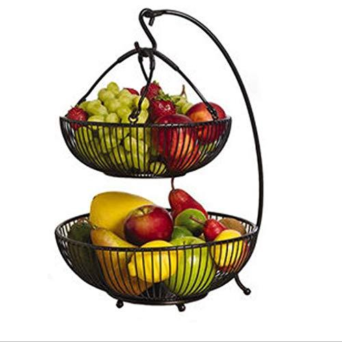 MQH Cesta de Frutas Alambre de Hierro Cesta de Frutas Cesta de Fruta de plátano Ajustable con Gancho de Estar Cocina Cesta de Almacenamiento Pisos Cuencos (Color : Black)