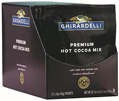 Ghirardelli Premium Hot Cocoa Envelopes, Double Chocolate, 1.5-Ounce (Pack of 15)