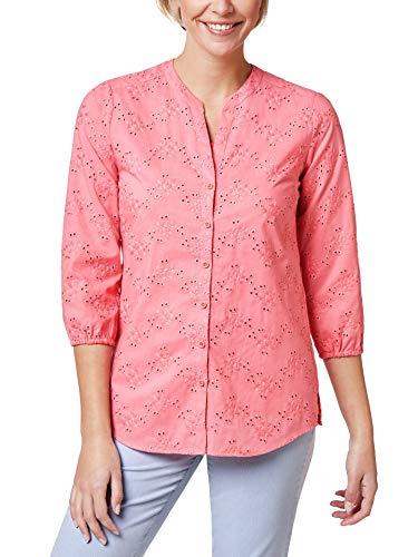 Walbusch Damen Lochstickerei Bluse einfarbig Flamingo 48 - Kurzarm
