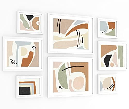 ArtbyHannah Paquete de 8 marcos abstractos de arte de pared con impresiones artísticas decorativas, enmarcado para decoración del...