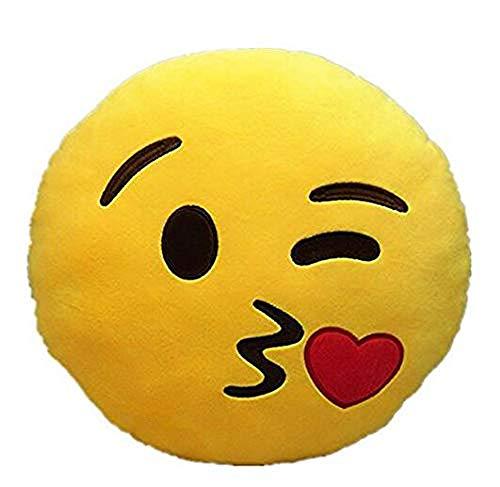 Brigamo 510 - Emoticon Kissen AUS PLÜSCH, 30 cm Durchmesser Kissen mit diversen Motive zum sammeln (Kussmund)