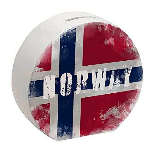 Spardose mit Norwegen-Flagge im Used Erscheinungsbild - Sparschwein für Urlauber eine schöne Sparbüchse mit der norwegischen Nationalflagge verziert um auf die Reise nach Norwegen zu sparen