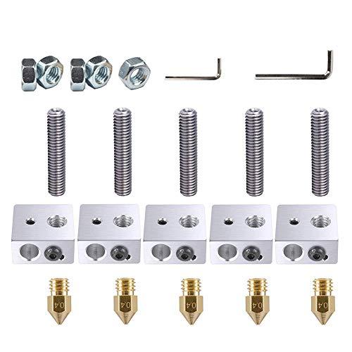 Onyehn 22pcs/Lots A8&A2 3D Printer Part Each 5PCS 0.4mm Extruder Nozzle Print Head+1.75mm Teflon Throat Tube+Heater Blocks Hotend for MK8 Makerbot Reprap