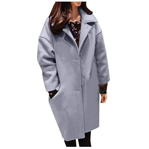 Yowablo Damen Mantel Trenchcoat Wintermantel Übergangs Jacke Parka mit Einreiher (4XL,Blau)