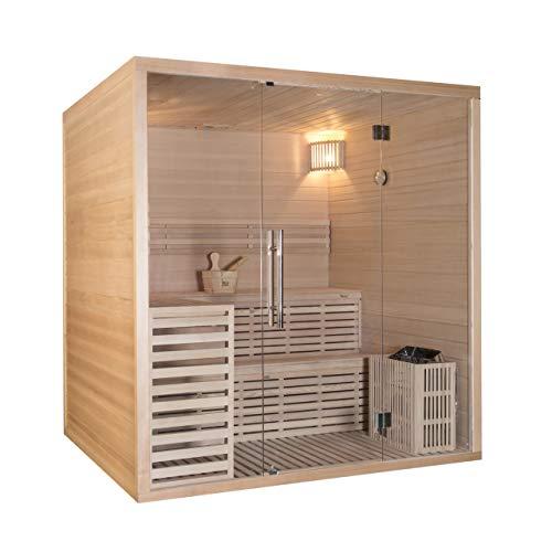 Wellis Calidus Hemlock finnische Sauna 200x170x210cm Komplett-Set inkl. Saunaofen Saunazubehör