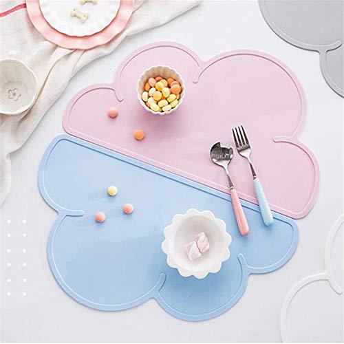 Baby Children's Silicone Cloud Placemat vorm servies en bestek Eettafel deur Mat Hot Drink Koffie Rack Coaster Draagbare Deur Mat Tafel Mat@The China_Light Grey_46.8X26.8X0.5Cm
