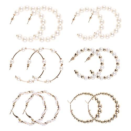 Joocyee 6 Pares de Pendientes de aro de Perlas Pendientes Colgantes Pendientes de Perlas Artificiales con Cuentas, Pendiente para Mujer, Dorado, Blanco