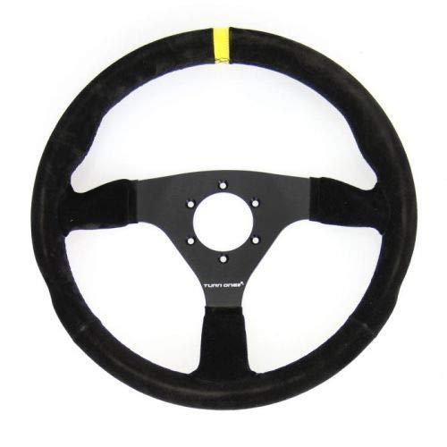 TURN ONE 614009N2 - Volante Racing Piel Volante, Color Negro, diámetro 330 mm, Talla única