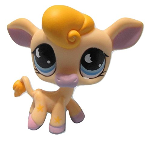 LPS Littlest Pet Shop Cream Cow with Lavender Hooves, Blonde Hair, Blue Eyes, Hungriest Cookie/Moon #927 Replacement Part Loose/Packaged in Parts Bag