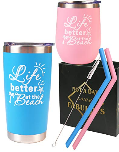 Life is Better at the Beach, Beach Gifts for Women or Men, Funny Beach Presents Travel Mug Tumbler, Beach Gift Ideas, Beach Life Cup Glass, Beach Life Gifts for Ocean Sea Beach Lover