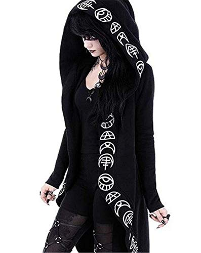 Women's Moon Gothic Witchcraft Hooded Cardigan Occult Long Sleeve Punk Hoodie Jacket Mid Long Sweatshirt (Tag Size 3XL(UK 16-18), Black) steampunk buy now online
