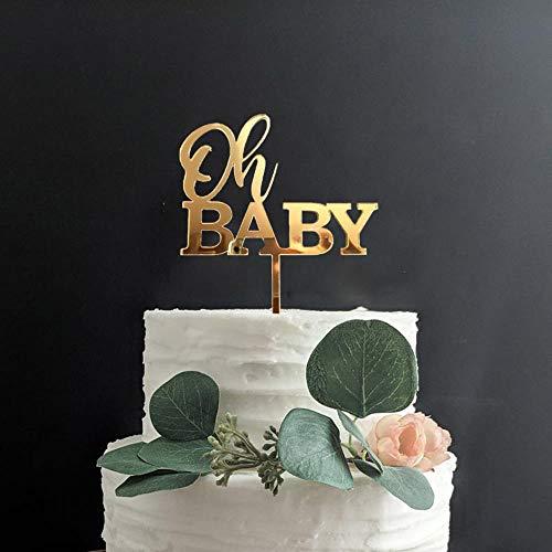Yoin Oh Baby Verjaardag Cake Topper Gepersonaliseerde Baby Douche Party Decor, Gouden Cake Topper Voor Nieuwe Baby, Hout Gender Openbaring Party Supply