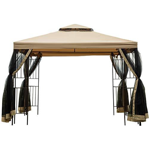 Sunnyglade Garden Gazebo Polyester Fabric 10' x 10' Patio Backyard Double Roof Vented Gazebo Canopy