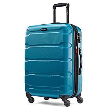 Samsonite Omni PC Hardside Expandable Luggage with Spinner Wheels Caribbean Blue Checked-Medium 24-Inch