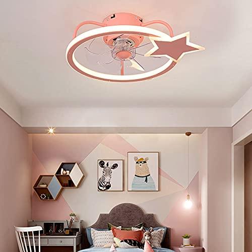 Infantil Ventilador Techo con Luz Led Y Mando A Distancia para Dormitorio Silencioso Regulable Lamparas Ventilador De Techo para Niña Bebe Habitación Lámpara Decorativa,Rosado