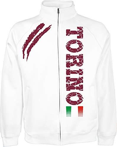 Generico Giacchino Torino Tifosi Ultras Calcio Sport dalla S alla XXL e 4 Colori Disponibili(L, Bianco)