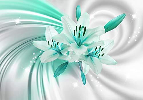 wandmotiv24 Fototapete Türkis Lilien Blüten XL 350 x 245 cm - 7 Teile Fototapeten, Wandbild, Motivtapeten, Vlies-Tapeten Blumen, Weiss, Pflanzen M1319