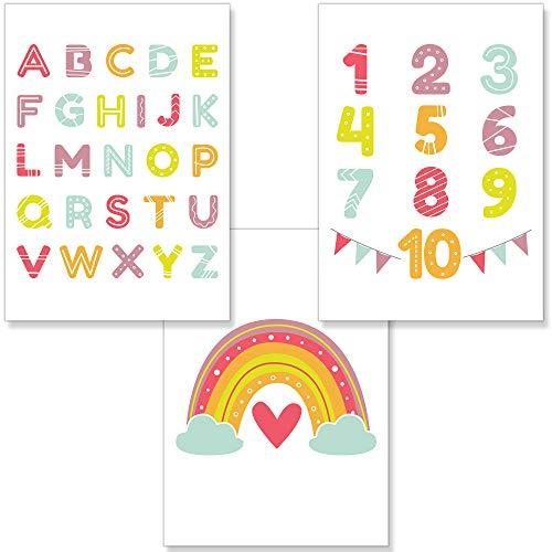 PREMYO Cuadros Infantiles Habitación Niña Niños - Láminas Decorativas para Enmarcar - 3 Póster Alfabeto ABC Arco-iris A4