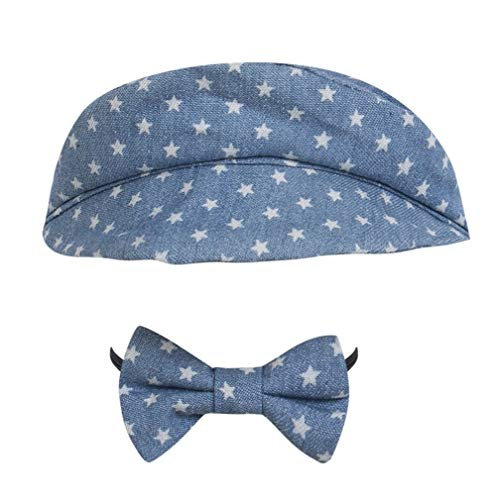 Greetuny 2pcs Boina y Corbata Bebé Retro Gorro Recién Nacido Regalo Original Lindo Sombrero de Fieltro 100 dias Conmemoración Foto (Azul)