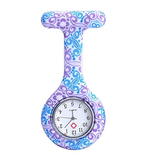JSDDE Uhren Schwesternuhren Krankenschwesteruhr FOB-Uhr Silikon Hülle Pulsuhr Pflegeuhr Tunika Brosche Taschenuhr Ansteckuhr Analog Quarzuhr (Lila-Blau Blume)