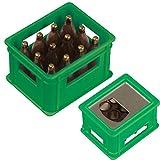 Flaschenöffner in der Form eines Bierkastens / Farbe: grün