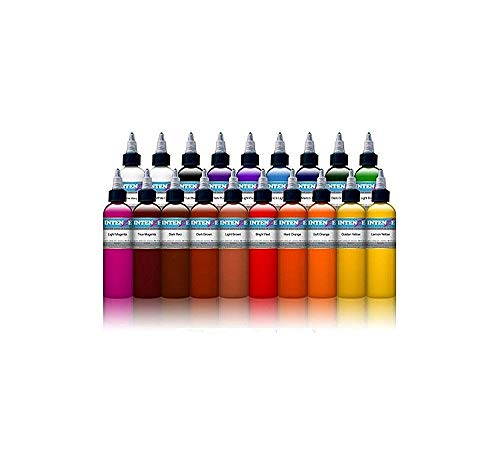 Intenze Tattoo Ink Set - 19 Basic Bright Professional Color Tattoo Inks - 1/2 Ounces Each