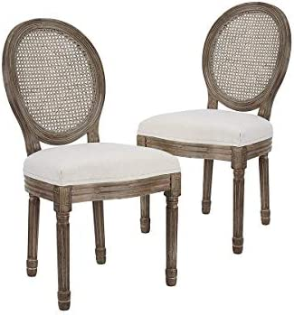CangLong Farmhouse Dining Room Accent Chairs, French Distressed Bedroom Chairs with Round Back, Elegant Kitchen Chairs Side Chair, Set of 2, Fabric Back in Beige