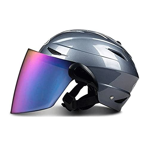 Casco De Patinete Eléctrico con Visera Solar - Casco Multiuso Negro Mate para Monopatín, Bicicleta Y Patinete Adecuado para Bicicletas, Hay Lentes Transparentes, Color