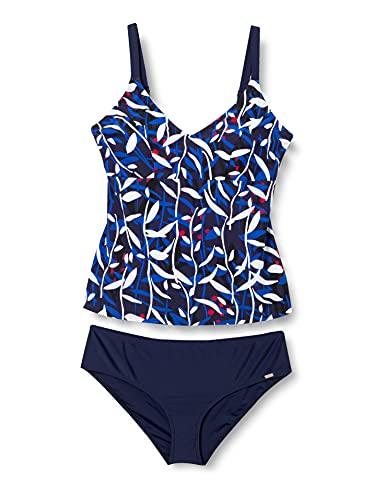 Schiesser Damen Badeanzug Tankini-Set, dunkelblau-gem, 42