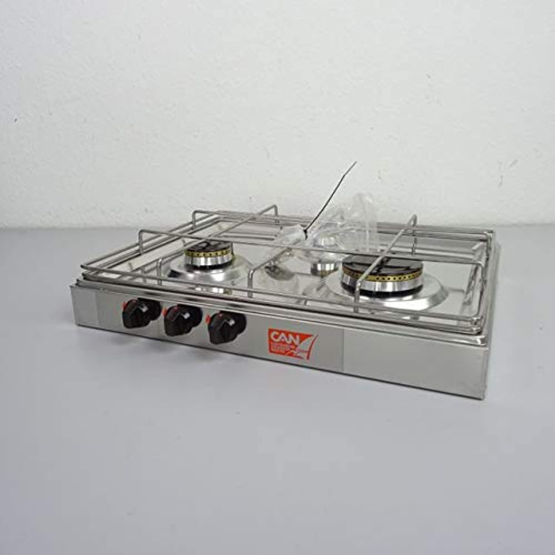 CAN Edelstahl Aufbaukocher Gaskocher 3-flammig 475x365x100mm für Stiefel Yacht Caravan Camping