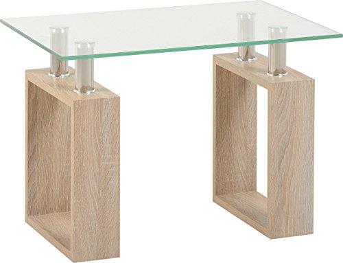 Seconique Milan Lamp Table, Sonoma Oak Effect/Clear Glass/Silver, 444.95 x 674.95 x 154.94 cm