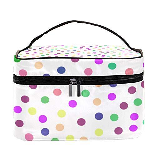 ANINILY - Cercles multicolores sur fond blanc multifonction - Organiseur de toilette portable pour femmes - Sacs cosmétiques de voyage avec poche en filet