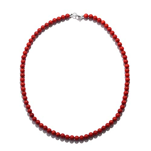 Shop LC Red Coral Beads 925 Sterling Silver Boho Bohemian Necklace for Women 18 inch ctw 100 - Women's Boho Fashion Jewelry