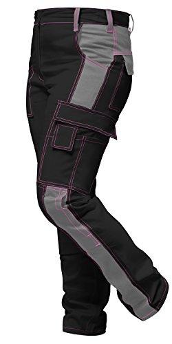 strongAnt - Damen Arbeitshose komplett Stretch Schwarz Grau Pink für Frauen Bundhose mit Kniepolstertaschen - Made in EU - Schwarz-Grau 21