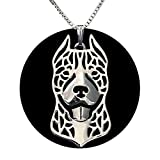 Pit Bull Dog Sterling Silver Necklace by Ginger Lyne Ears Up Puppy Dog Pet Pendant Box Chain Doggie Animal Paw Print Heart Jewelry for Pit Mom Women Girls Teens gifts for Dog Lovers