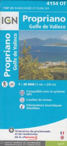 IGN 4154 OT Propriano, Golfe de Valinco (Córcega, Francia) 1:25.000 topográfico mapa de senderismo IGN