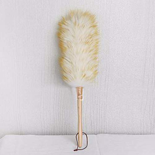Lambswool Duster with Wood Handle & Hanging Rope, Anti-Static Soft Wool Duster Dust Sweeping Feather Duster for Cleaning Furniture Sofa, Wall Painting(white+yellow)