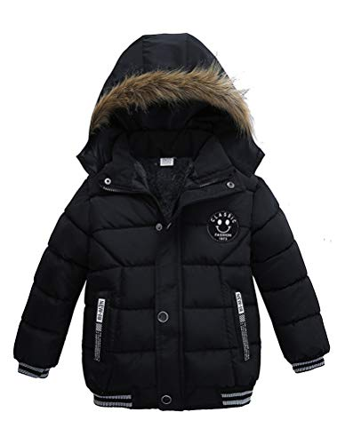 Odziezet Blouson Manteau Fourrure Chaud Enfant Garçon Bébé Ski Vêtement Doudoune à Capuche Veste à Manches Longues Chaud 6-7 Ans
