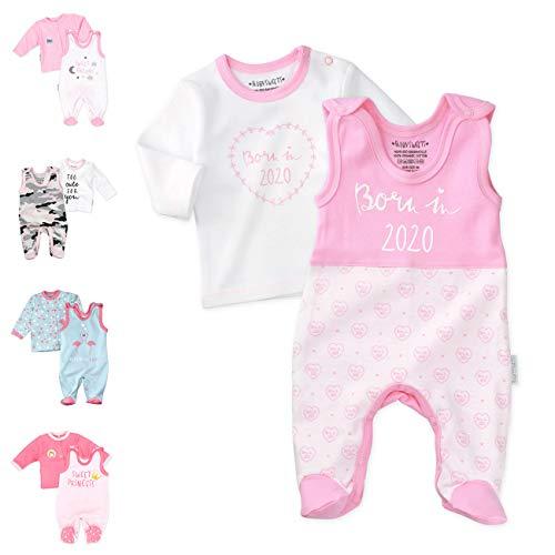 Baby Sweets 2er Baby-Set mit Strampler & Shirt für Mädchen/Baby-Erstausstattung in Rosa-Weiß im Motiv Born in 2020 als Baby-Kleidung/Mädchen-Strampler-Set im Baby-Outfit/Größe: 6-9 Monate (74)