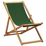 vidaXL Madera de Eucalipto Silla de Playa Plegable Asiento Reclinable Piscina Camping Hamaca Tumbona Jardín Patio Balcón Tela Verde